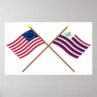 Bandera de Betsy Ross y bandera cruzadas de la mar Impresiones
