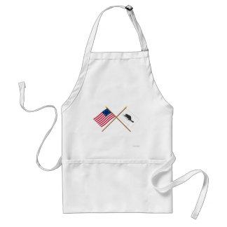 Bandera de Betsy Ross y bandera cruzadas de Nueva  Delantal