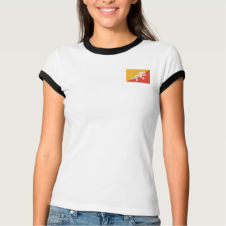 Bandera de Bhután + Camiseta del mapa Playera