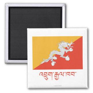 Bandera de Bhután con nombre en Dzongkha Imán Cuadrado