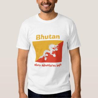 Bandera de Bhután + Mapa + Camiseta del texto Playera