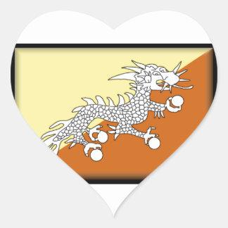 Bandera de Bhután Pegatina Corazón Personalizadas