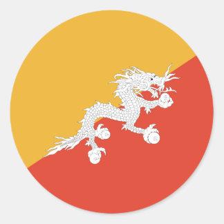 Bandera de Bhután Pegatina Redonda