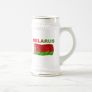 Bandera de Bielorrusia (ondulada) Jarra De Cerveza