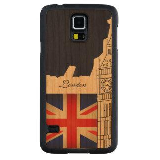 Bandera de Big Ben Gran Bretaña de la ciudad de Funda De Galaxy S5 Slim Cerezo