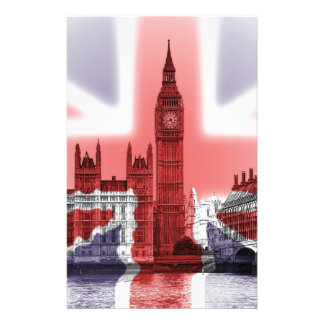 Bandera de Big Ben Londres y de Union Jack Papeleria
