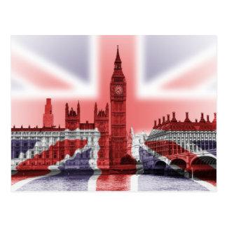 Bandera de Big Ben Londres y de Union Jack Postales