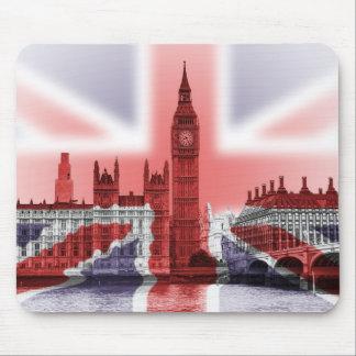 Bandera de Big Ben Londres y de Union Jack Tapetes De Ratones