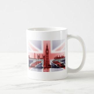 Bandera de Big Ben Londres y de Union Jack Tazas De Café