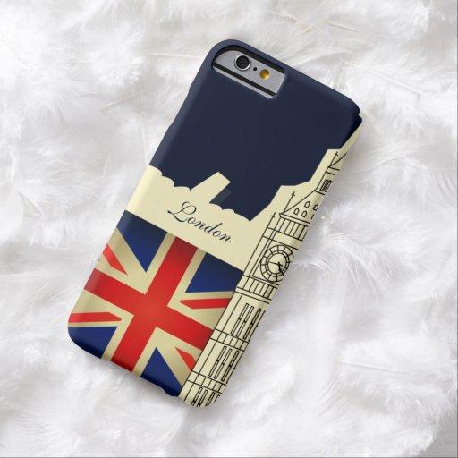 Bandera de Big Ben Union Jack de la ciudad de Funda De iPhone 6 Barely There