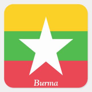Bandera de Birmania Calcomanías Cuadradass Personalizadas