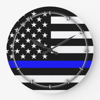 Bandera de Blue Line los E.E.U.U. Reloj Redondo Grande