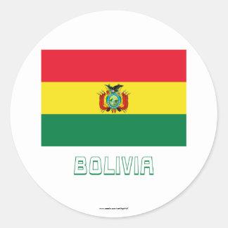 Bandera de Bolivia con nombre Etiquetas Redondas