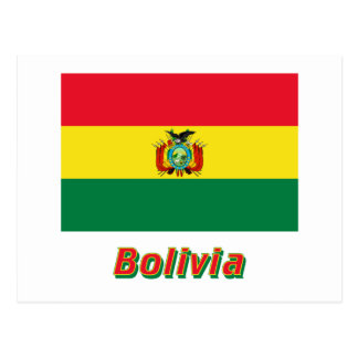 Bandera de Bolivia con nombre Postal