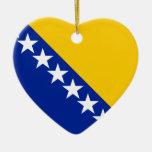 Bandera de Bosnia y Hercegovina Adorno Navideño De Cerámica En Forma De Corazón