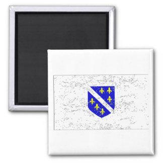Bandera de Bosnia y Hercegovina (apenada) Imán Cuadrado