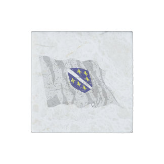 Bandera de Bosnia y Hercegovina (apenada) Imán De Piedra