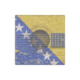 Bandera de Bosnia y Hercegovina en la guitarra Imán De Piedra