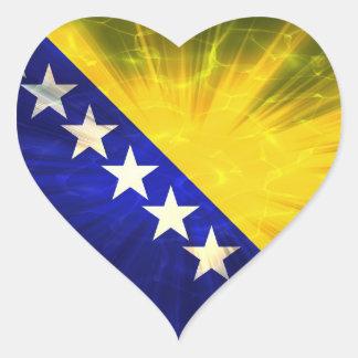 Bandera de Bosnia y Hercegovina Pegatina En Forma De Corazón