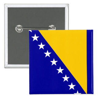 Bandera de Bosnia y Herzegovina Pin Cuadrado