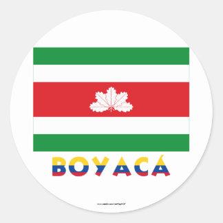 Bandera de Boyacá con nombre Pegatina Redonda