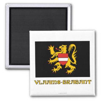Bandera de Brabante Flamenco con nombre Imán Cuadrado
