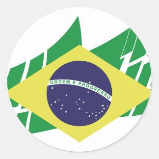 Bandera de Brasil estilo Pegatina Redonda