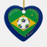 Bandera de BRASIL FÚTBOL campeón del mundial Ornamentos De Reyes