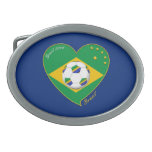 Bandera de BRASIL FÚTBOL campeón del mundial Hebillas Cinturón Ovales