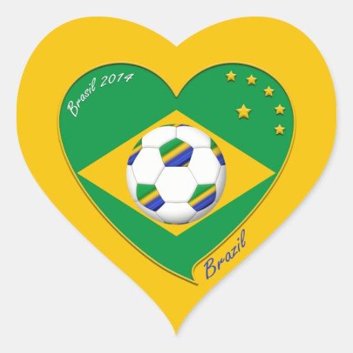 Bandera de BRASIL FÚTBOL de campeones del mundo Colcomanias Corazon Personalizadas