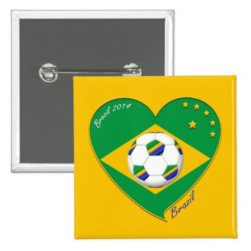 Bandera de BRASIL FÚTBOL de campeones del mundo Pin Cuadrada 5 Cm