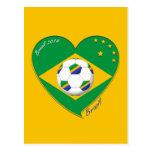 Bandera de BRASIL FÚTBOL de campeones del mundo Postales