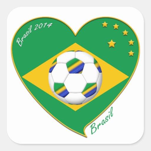 Bandera de BRASIL FÚTBOL del mundo equipo nacional Pegatina Cuadrada