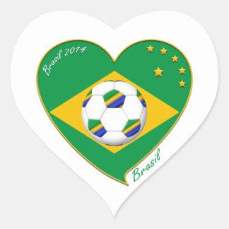 Bandera de BRASIL FÚTBOL del mundo equipo nacional Pegatina En Forma De Corazón