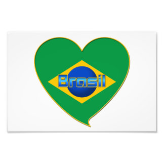 Bandera de BRAZIL en corazón de países del mundo Arte Fotografico