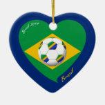 Bandera de BRAZIL FÚTBOL equipo nacional 2014 Ornamentos De Navidad