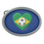 Bandera de BRAZIL FÚTBOL equipo nacional 2014 Hebillas Cinturon Ovales