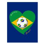 Bandera de BRAZIL FÚTBOL equipo nacional 2014 Postal