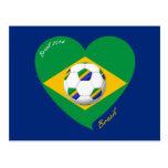 Bandera de BRAZIL FÚTBOL equipo nacional 2014 Tarjetas Postales