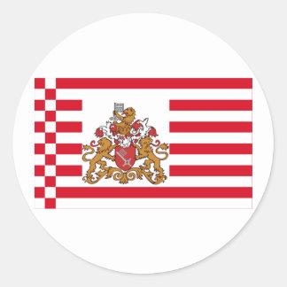 Bandera de Bremen con mayores brazos Pegatina Redonda