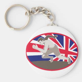 bandera de británicos del atleta del atletismo del llavero redondo tipo pin