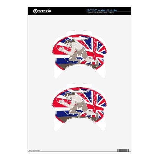 bandera de británicos del atleta del atletismo del mando xbox 360 calcomanía