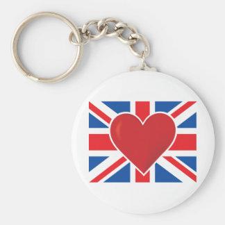 Bandera de Británicos del corazón Llavero Redondo Tipo Pin