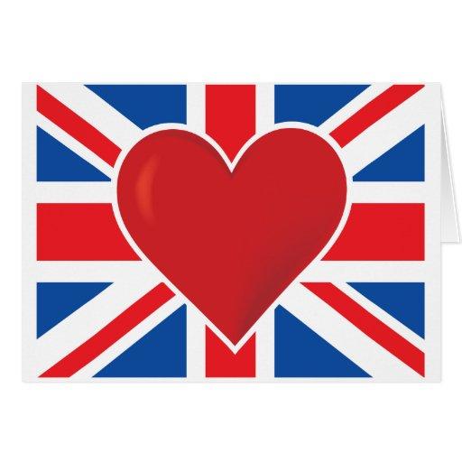Bandera de Británicos del corazón Tarjeta De Felicitación