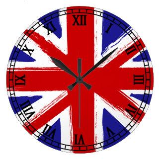 Bandera de Británicos del estilo del Grunge Reloj Redondo Grande