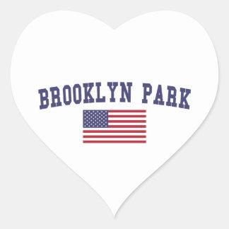Bandera de Brooklyn Park los E.E.U.U. Pegatina En Forma De Corazón