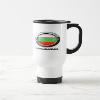 Bandera de Bulgaria en el marco de acero Tazas De Café