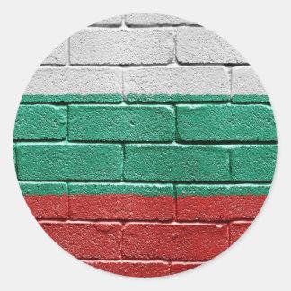 Bandera de Bulgaria Etiqueta Redonda