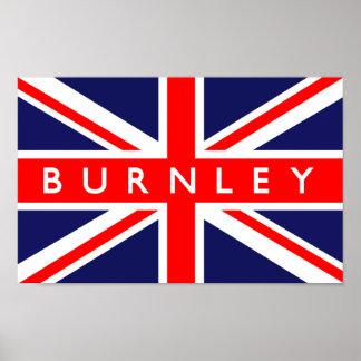 Bandera de Burnley Reino Unido Póster