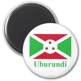 Bandera de Burundi con nombre en Kirundi Imán De Frigorífico